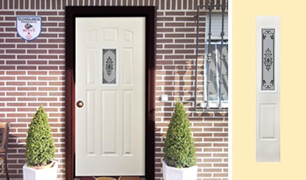 Puertas principales con vitral para exterior for Puertas para exteriores economicas